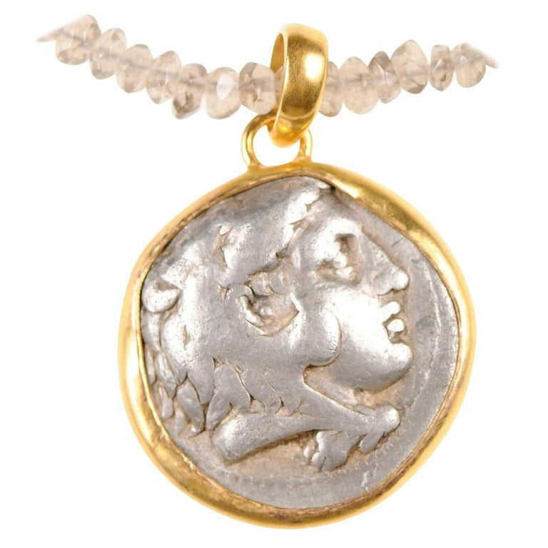 Ancient Greek Alexander the Great Silver Tetradrachm Coin in 22 kt Gold Pendant  For Sale