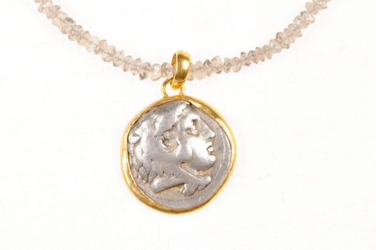 Patinated Ancient Greek Alexander the Great Silver Tetradrachm Coin in 22 kt Gold Pendant  For Sale