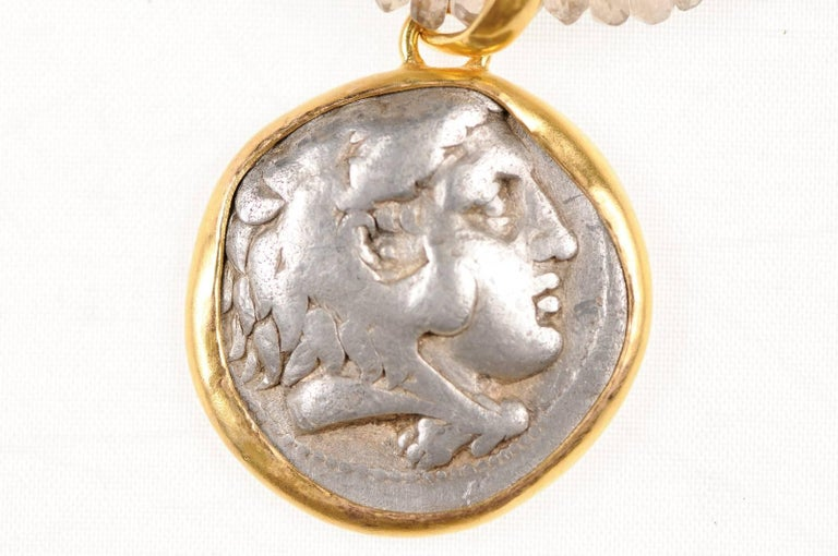 18th Century and Earlier Ancient Greek Alexander the Great Silver Tetradrachm Coin in 22 kt Gold Pendant  For Sale