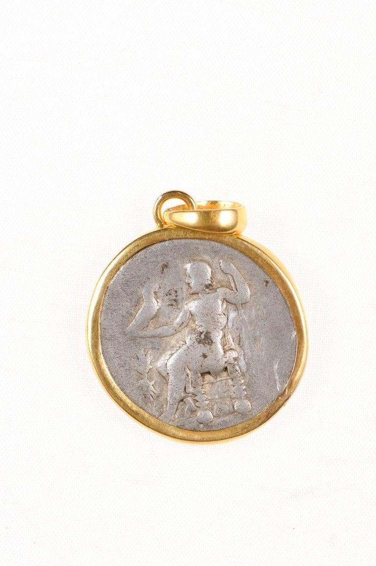 Ancient Greek Alexander the Great Silver Tetradrachm Coin in 22 kt Gold Pendant  For Sale 1