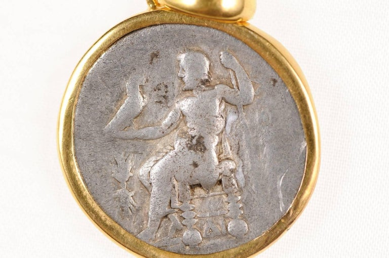 Ancient Greek Alexander the Great Silver Tetradrachm Coin in 22 kt Gold Pendant  For Sale 2