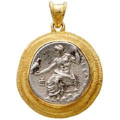 Ancient Greek Alexander the Great Zeus Coin 18K Pendant