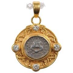 Ancient Greek Apollonia Pontika AR Drachm Coin & 22 kt Gold w/ Diamonds Pendant