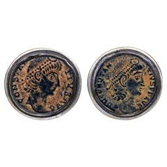 Ancient Greek Bronze Coin Sterling Silver Cufflinks
