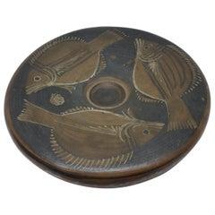Ancient Greek Ceramic Plate with Fish Decor 4th Century BC