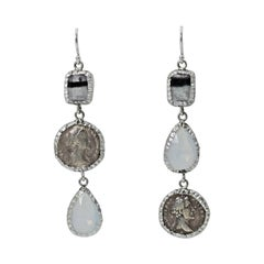 Ancient Greek Coin, Fluorite and Moonstone Asymmetrical Dangle Earrings