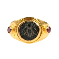 Ancient Greek Ephesos, Ionia Bronze Coin Set in Gold Ring Flanked by Rubies