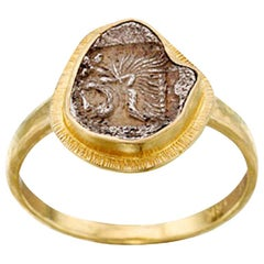 Ancient Greek Lion Coin 18K Gold Ring