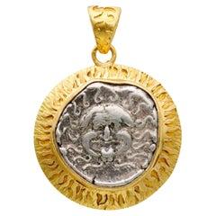 Ancient Greek Medusa Coin 18K Gold Pendant
