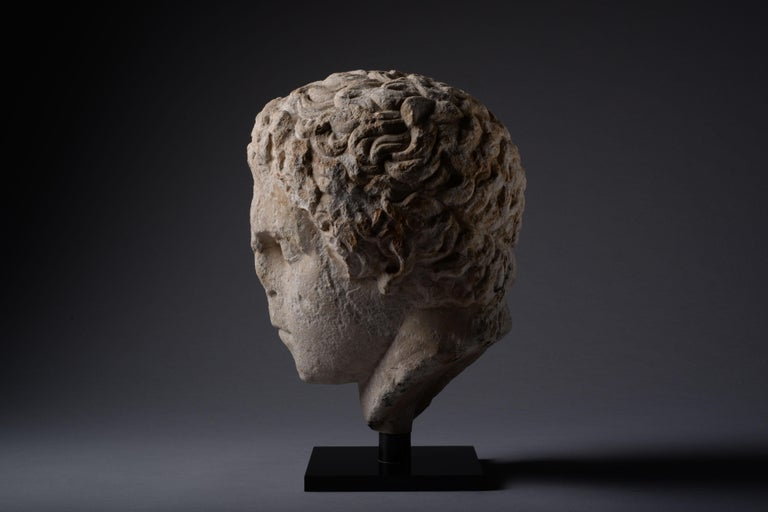 Ancient Greek over Life-Size Hellenistic Marble Head of an Athlete, 300 BC For Sale 1