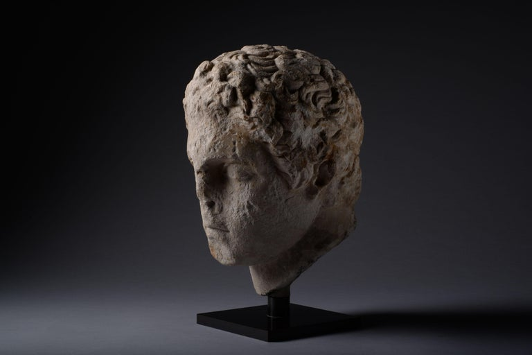 Ancient Greek over Life-Size Hellenistic Marble Head of an Athlete, 300 BC For Sale 2