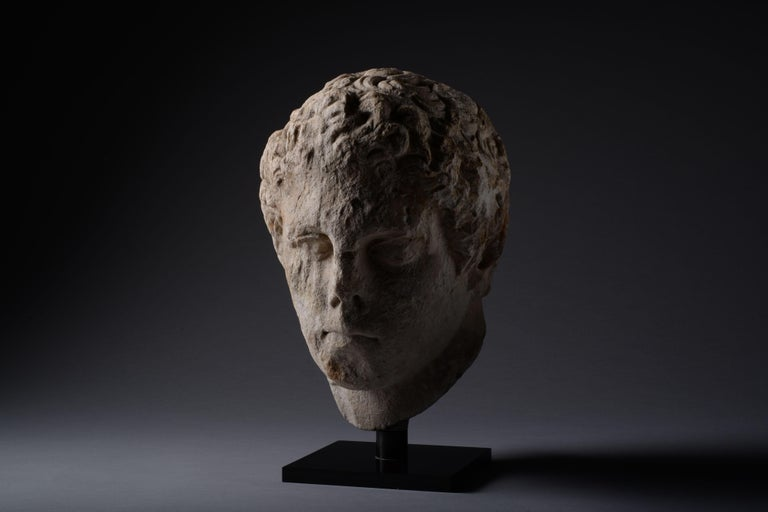 Ancient Greek over Life-Size Hellenistic Marble Head of an Athlete, 300 BC For Sale 3