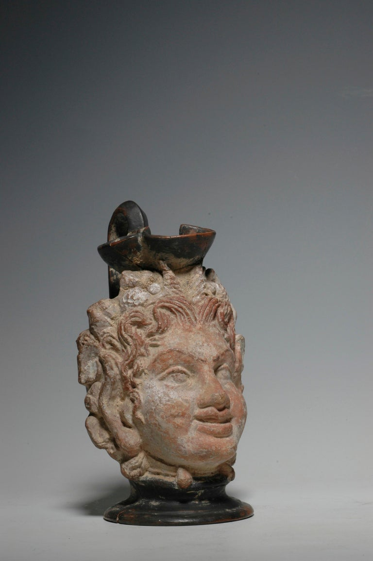 Classical Greek Ancient Greek Polychrome Head Vase with Face of a Faun For Sale