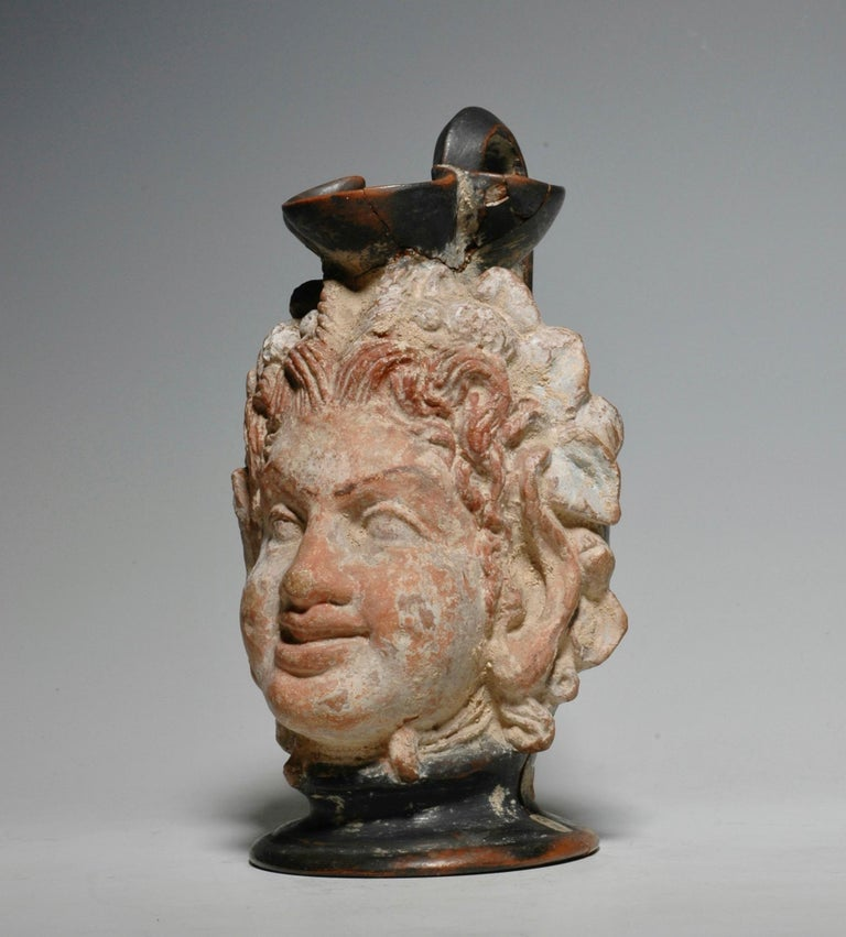 Italian Ancient Greek Polychrome Head Vase with Face of a Faun For Sale