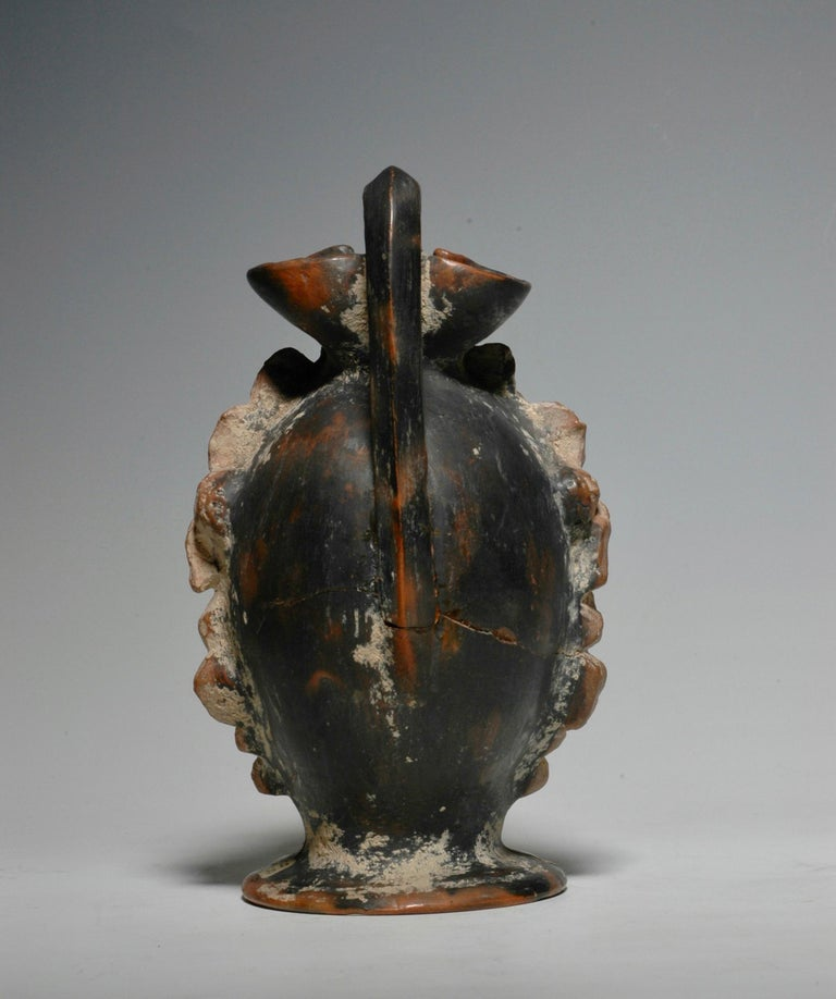 Ancient Greek Polychrome Head Vase with Face of a Faun In Good Condition For Sale In Zurich, Canton Zurich