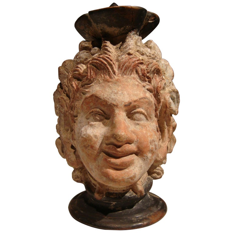 Ancient Greek Polychrome Head Vase with Face of a Faun For Sale