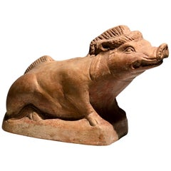 Ancient Greek Pottery Vase in Form of a Wild Boar