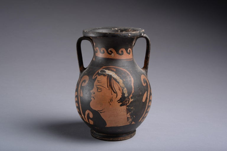 Pottery Ancient Greek Red Figure Pelike Vase, 350 BC For Sale
