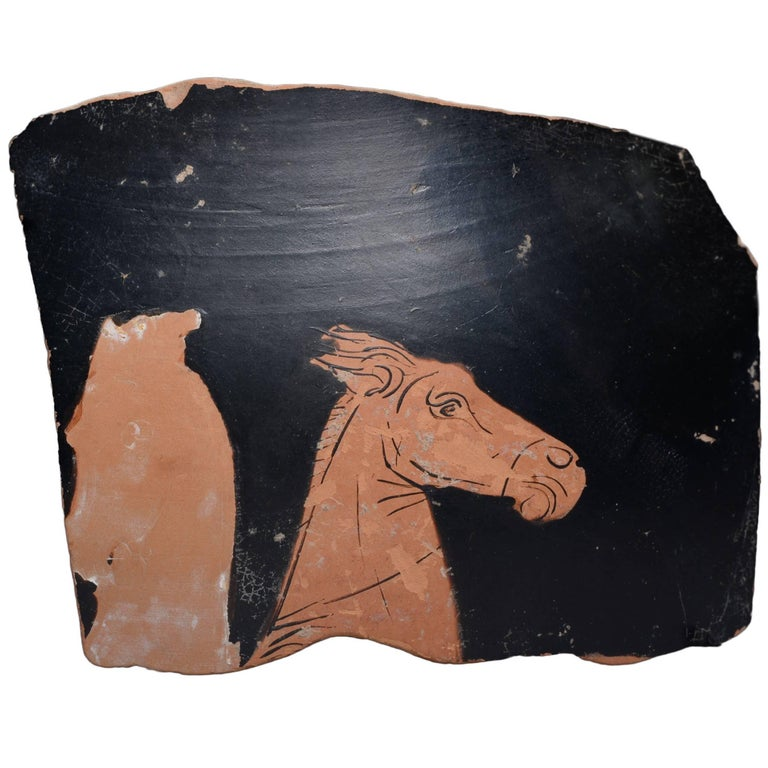 Ancient Greek Red Figure Vase Horse Head Fragment, 350 BC For Sale