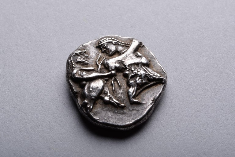 Classical Greek Ancient Greek Satyr and Nymph Silver Coin from Siris, 500 BC For Sale