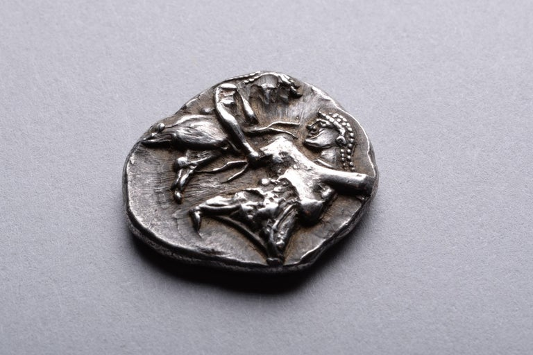 Ancient Greek Satyr and Nymph Silver Coin from Siris, 500 BC In Excellent Condition For Sale In London, GB