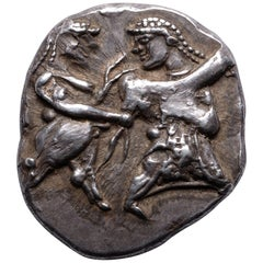 Ancient Greek Satyr and Nymph Silver Coin from Siris, 500 BC