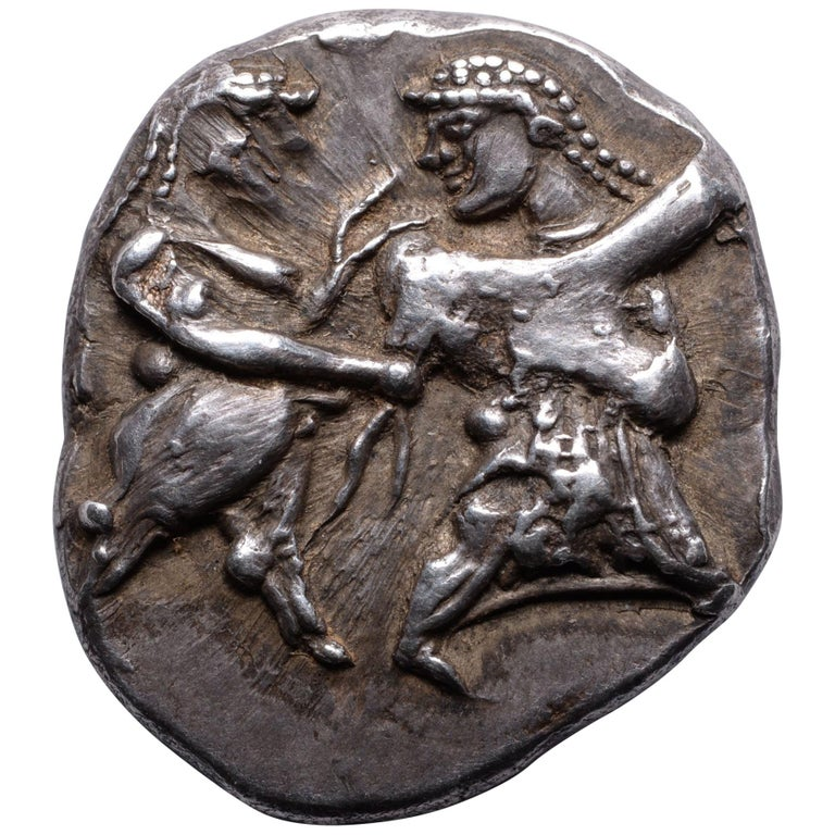 Ancient Greek Satyr and Nymph Silver Coin from Siris, 500 BC For Sale