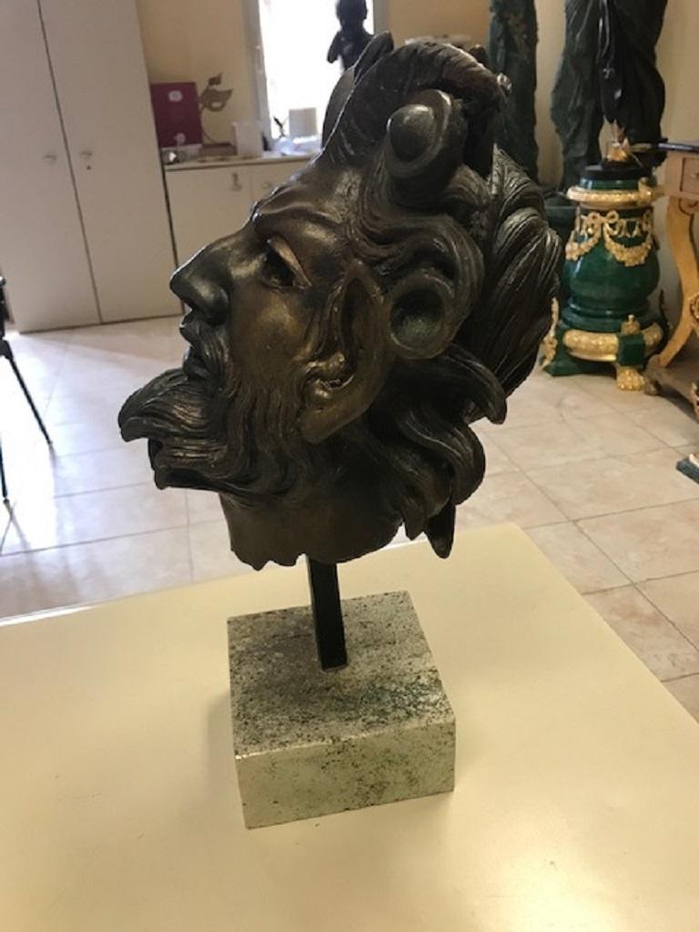 Italian Ancient Greek Satyr's Head Sculpture For Sale