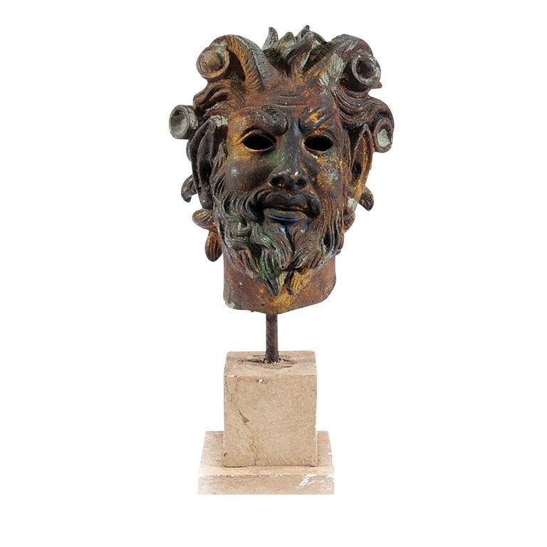 Italian Testa Di Fauno Statue For Sale