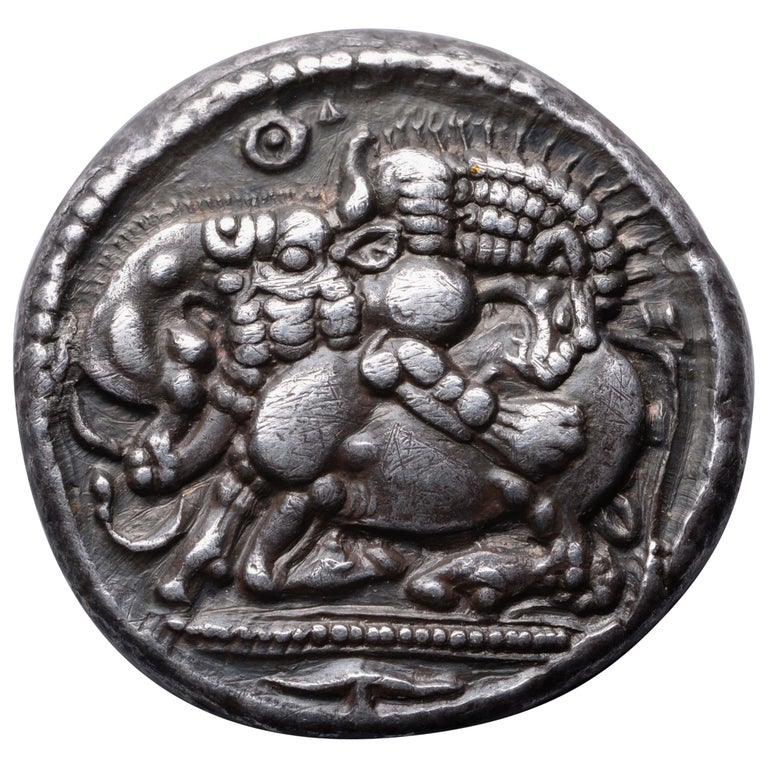 Ancient Greek Silver Archaic Tetradrachm Coin from Akanthos, 470 BC For Sale