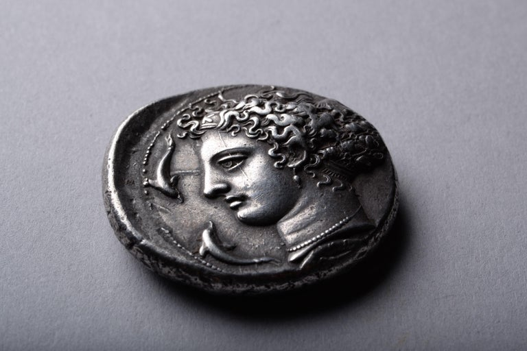 Classical Greek Ancient Greek Silver Dekadrachm Coin by Kimon from Syracuse-405 BC For Sale