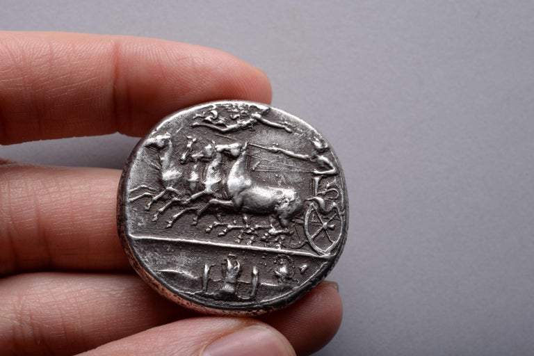 Ancient Greek Silver Dekadrachm Coin by Kimon from Syracuse-405 BC In Excellent Condition For Sale In London, GB