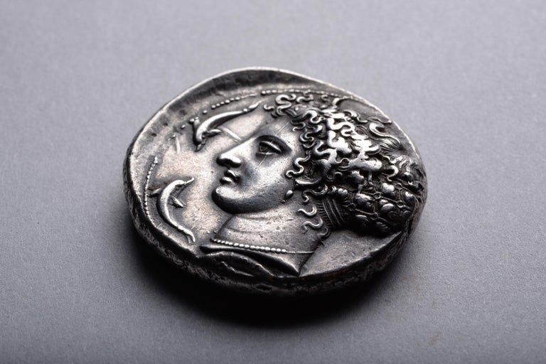 18th Century and Earlier Ancient Greek Silver Dekadrachm Coin by Kimon from Syracuse-405 BC For Sale
