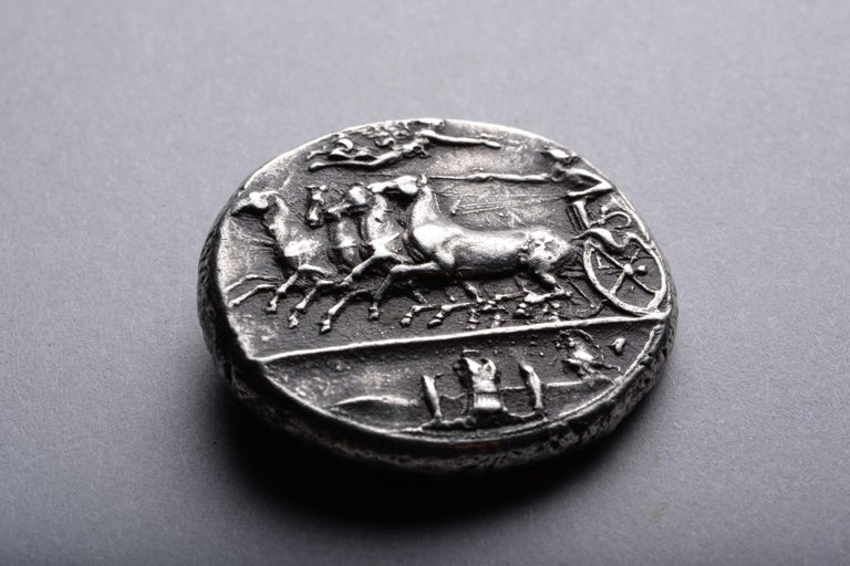 Ancient Greek Silver Dekadrachm Coin by Kimon from Syracuse-405 BC For Sale 1