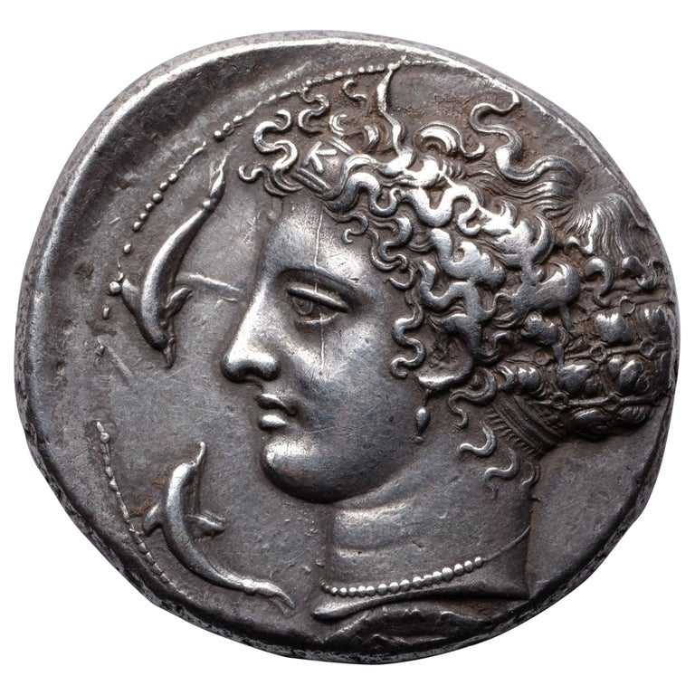 Ancient Greek Silver Dekadrachm Coin by Kimon from Syracuse-405 BC For Sale