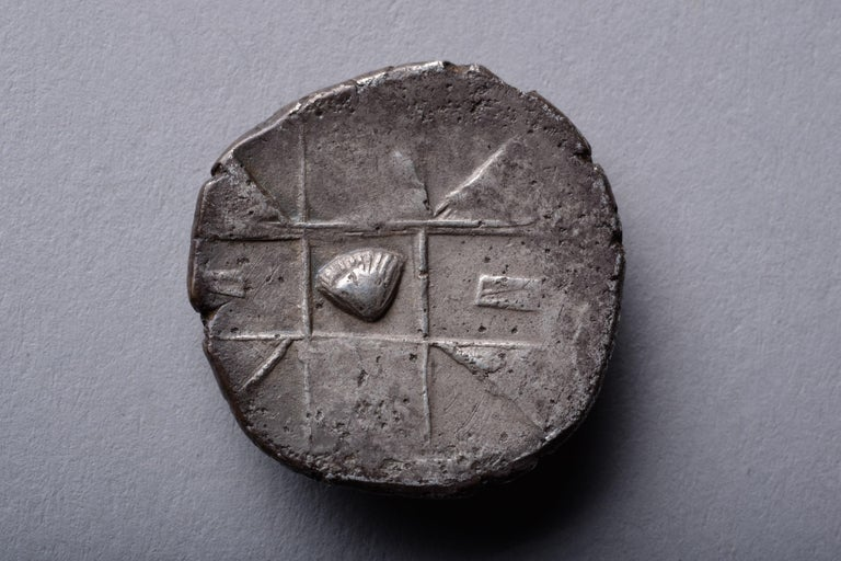 Classical Greek Ancient Greek Silver Dolphin Drachm Coin from Zankle, 500 BC For Sale