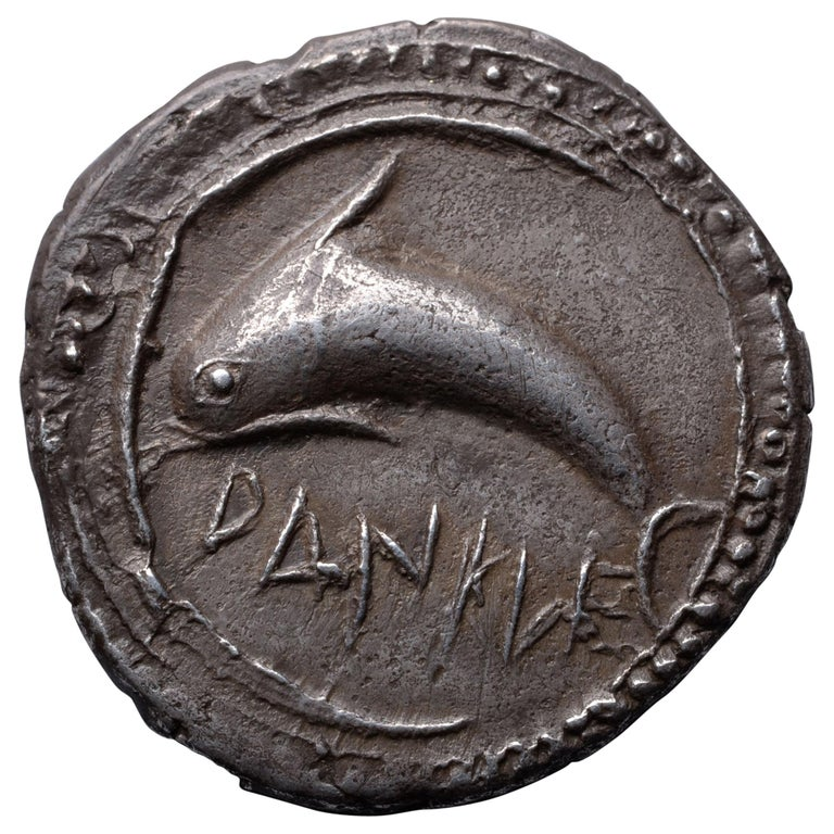 Ancient Greek Silver Dolphin Drachm Coin from Zankle, 500 BC For Sale