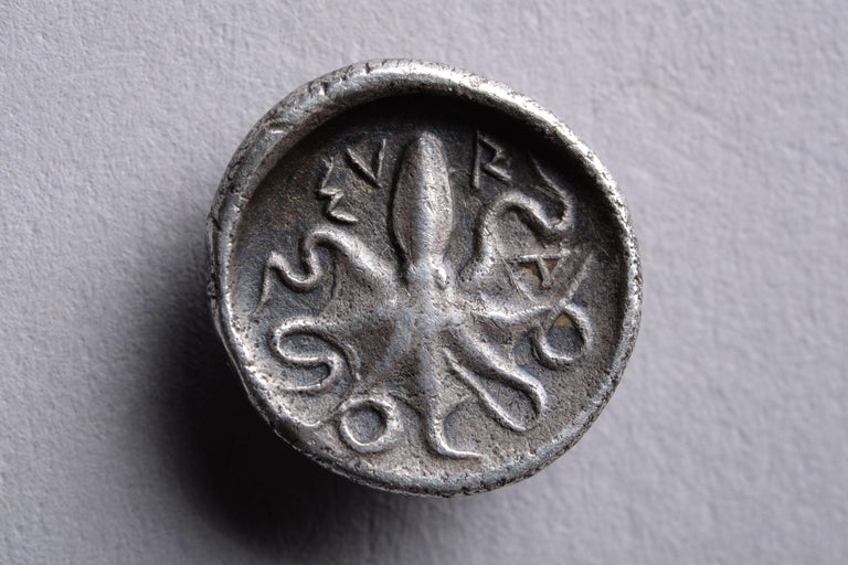 Sicilian Ancient Greek Silver Octopus Coin from Syracuse, 460 BC For Sale