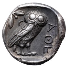 Ancient Greek Silver Owl Tetradrachm Coin from Athens, 454 BC