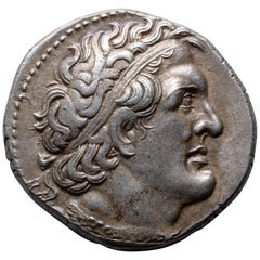 Ancient Greek Silver Tetradrachm Coin of King Ptolemy I, 300 BC