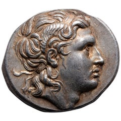 Ancient Greek Silver Tetradrachm Coin with Head of Alexander the Great, 297 BC