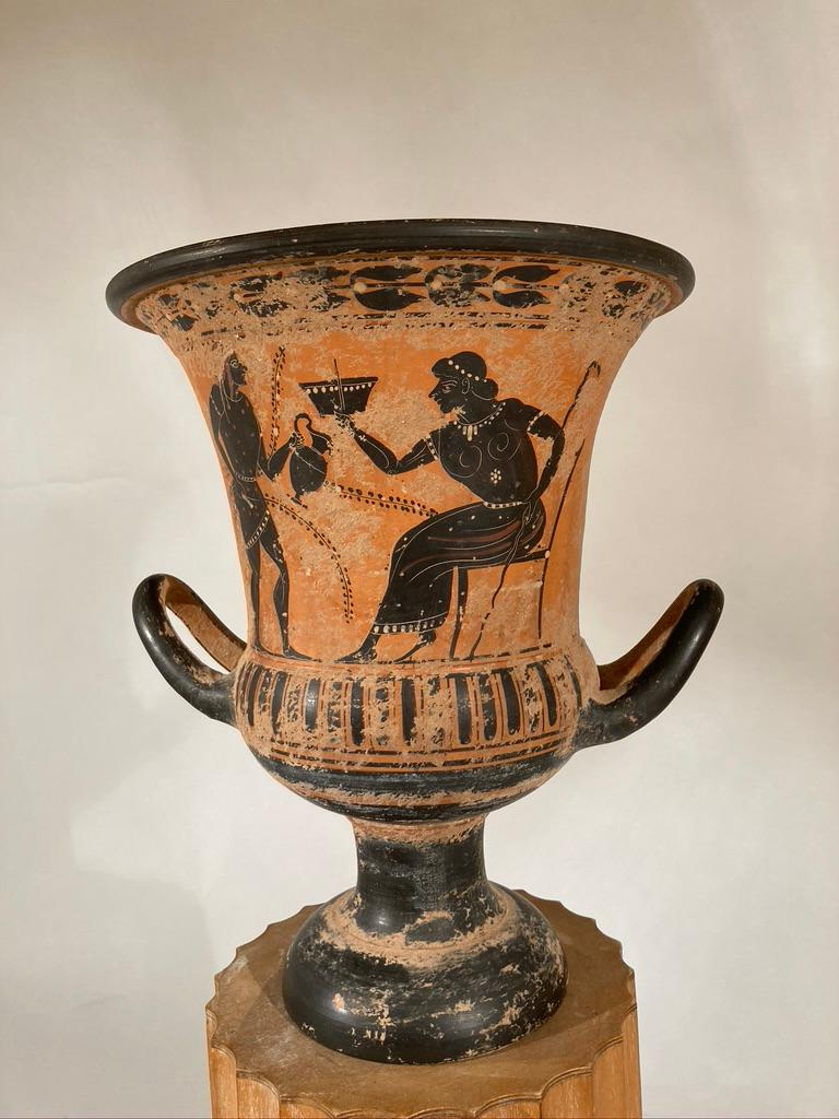 Ancient Greek Style Terracotta Krater Vase with Horse and Rider For Sale 6
