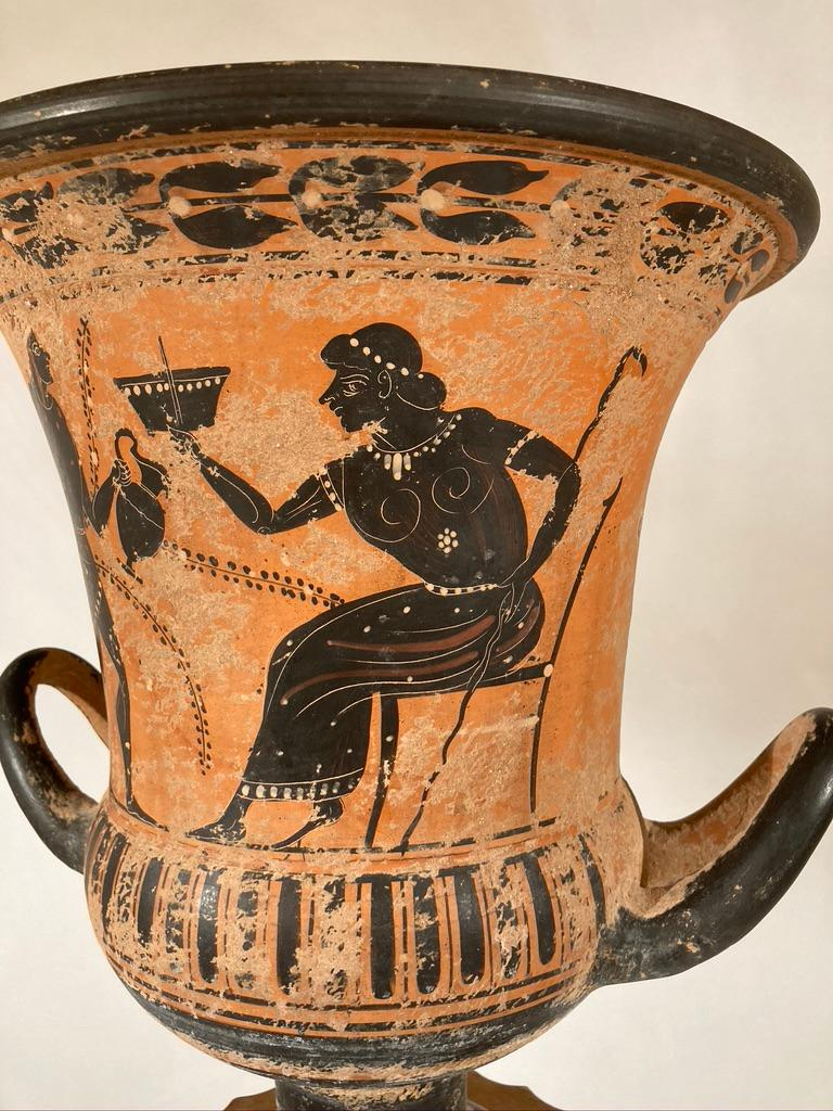 Ancient Greek Style Terracotta Krater Vase with Horse and Rider For Sale 7