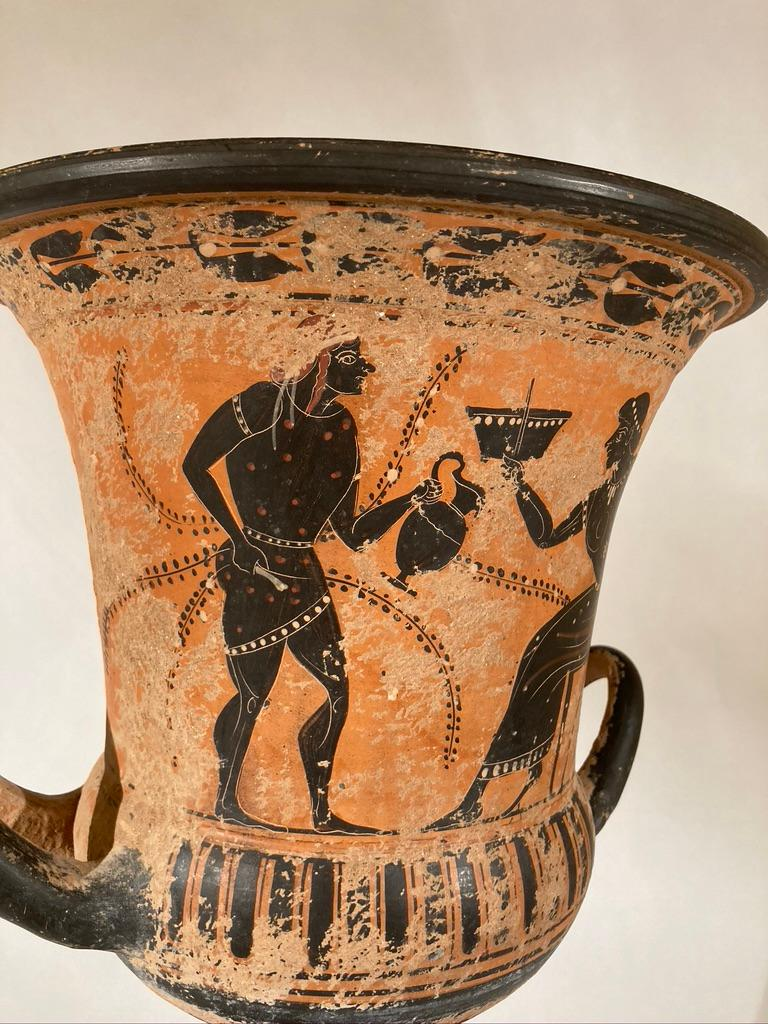 Ancient Greek Style Terracotta Krater Vase with Horse and Rider For Sale 8