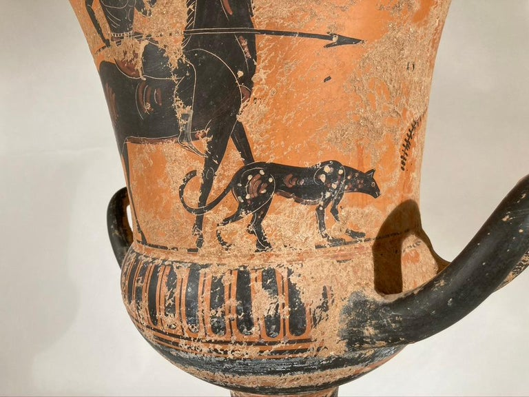 20th Century Ancient Greek Style Terracotta Krater Vase with Horse and Rider For Sale