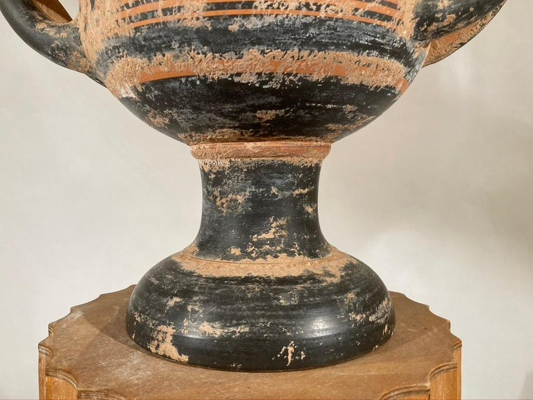 Ancient Greek Style Terracotta Krater Vase with Horse and Rider For Sale 1