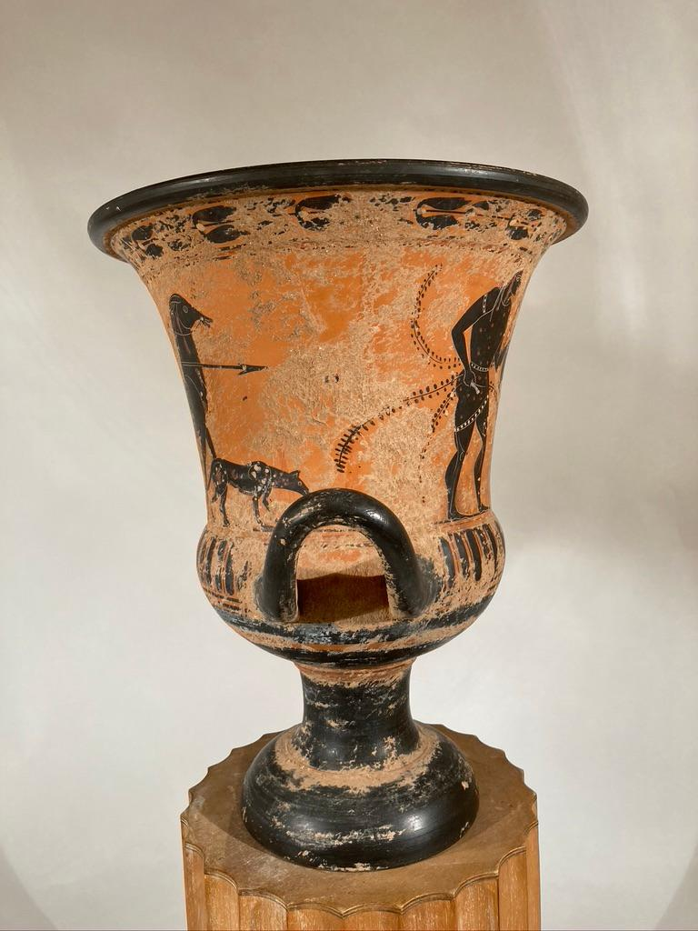 Ancient Greek Style Terracotta Krater Vase with Horse and Rider For Sale 2
