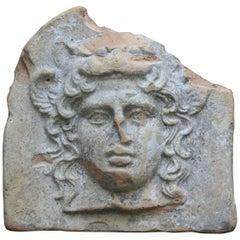 Ancient Greek Terracotta Antefix in Form of the Head of Artemis Bendis, Taranto