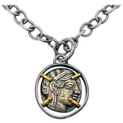 Ancient Greek Tetradrachm Silver Coin Reversible Pendant on Chain Necklace