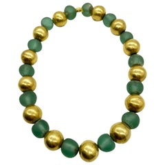Ancient Green Glass and Yellow Gold Beads Necklace
